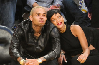 Rihanna & Chris Brown at  Lakers