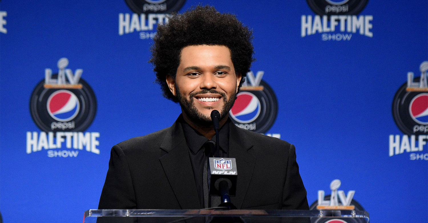 The Weeknd Super Bowl LIV press conference GettyImages 1300361142